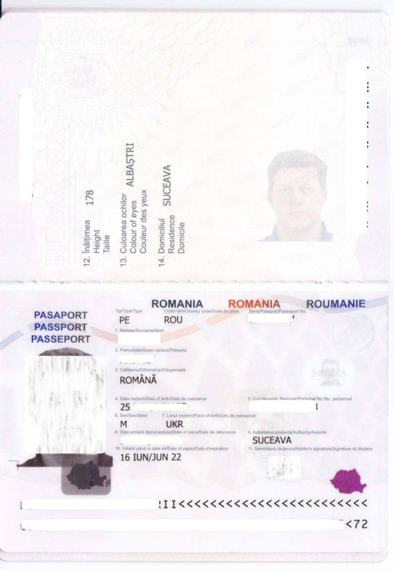 Заграничный паспорт Румынии